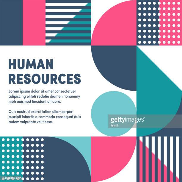 geometric & vibrant human resources vector cover design - corporate business stock illustrations