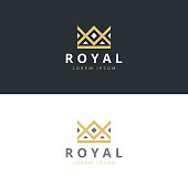 Geometric Vintage Creative Crown abstract icon design vector template.