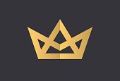 Geometric Vintage Creative Crown abstract Logo design vector template. Vintage Crown Logo Royal King Queen concept symbol Logotype concept icon.