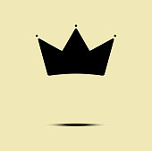 Geometric Vintage Crown icon minimalism design vector template.