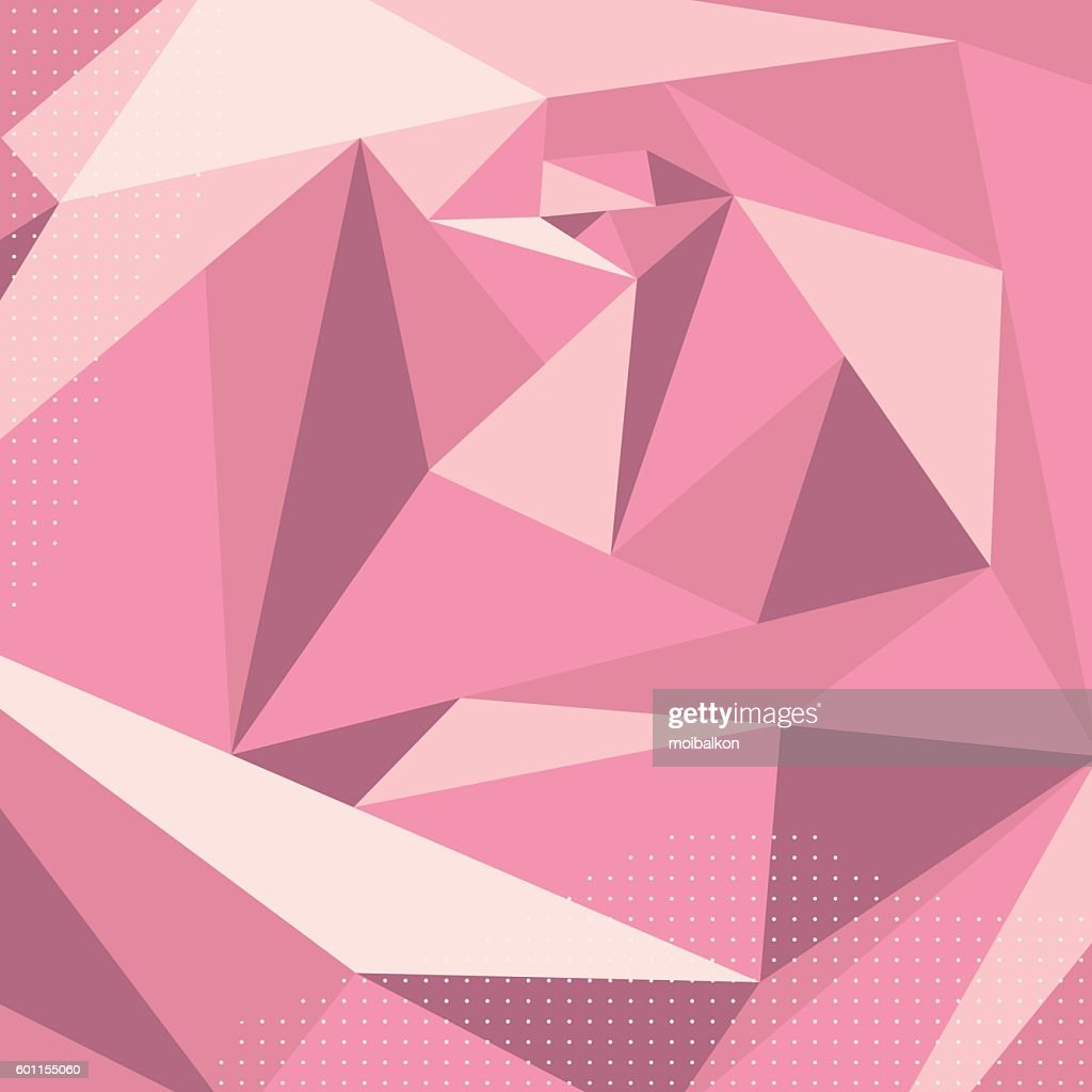 Geometric volume abstract pink rose, polygonal