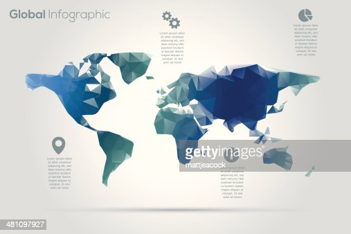 Geometric World Map Infographic Vector Art
