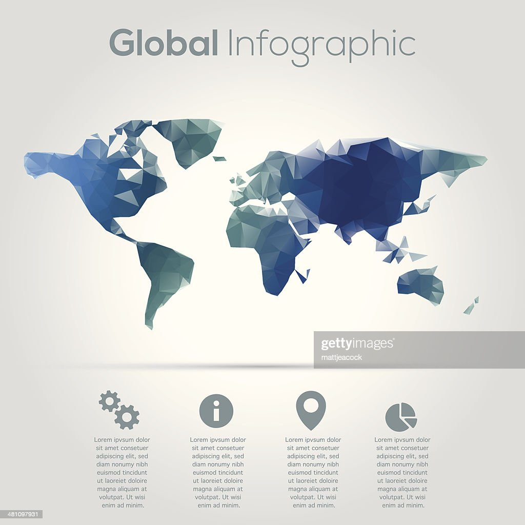 Geometric world map infographic vector art getty images geometric world map infographic vector art gumiabroncs Images