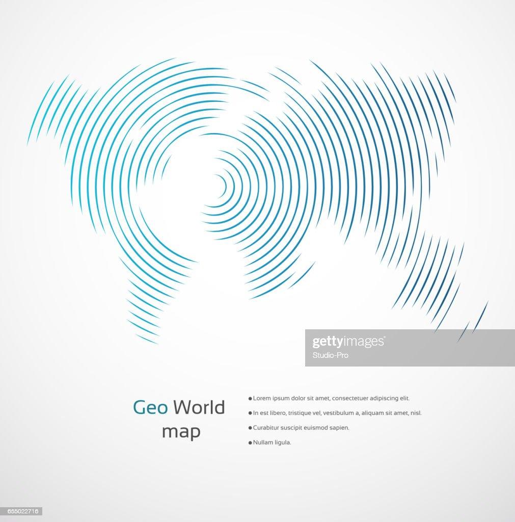 Geometric world map : stock illustration