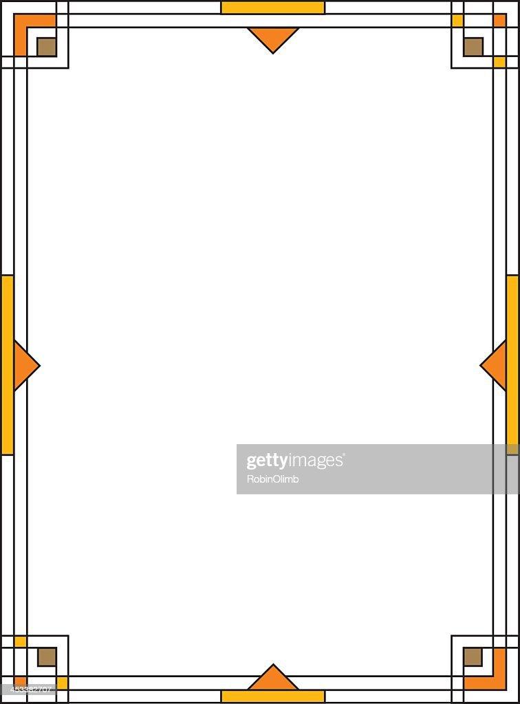 Geometric yellow and black Art Deco frame on white