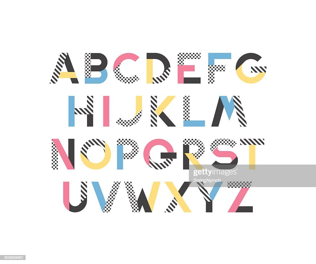 Geometrical pattern and color blocks' latin font