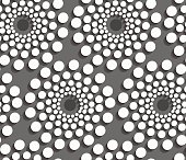 Geometrical pattern with white dotted  concentric circles on gra