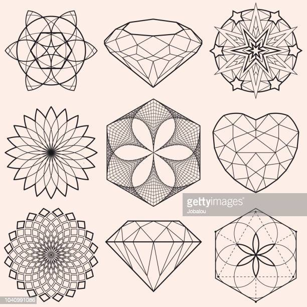 geometrical shapes and gems - fractal stock illustrations