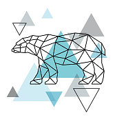 Geometrical silhouette of a polar bear. Scandinavian style. Vector illustration.