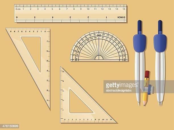 geometry box - protractor stock illustrations, clip art, cartoons, & icons