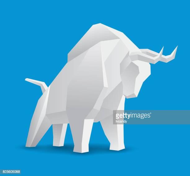 geometry bull - bull market stock illustrations, clip art, cartoons, & icons