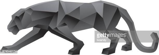 geometry leopard - side view stock illustrations, clip art, cartoons, & icons
