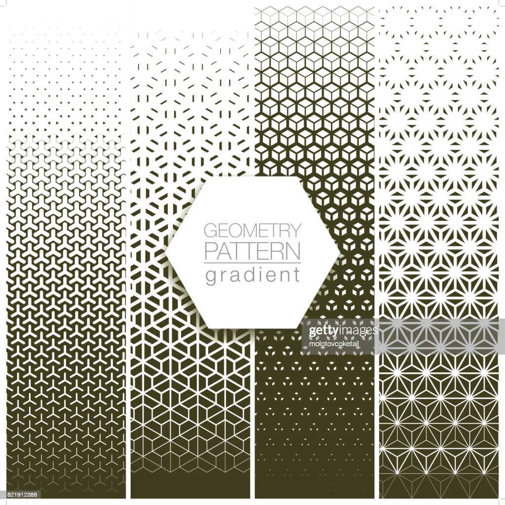 geometry pattern gradient set in gray : stock illustration