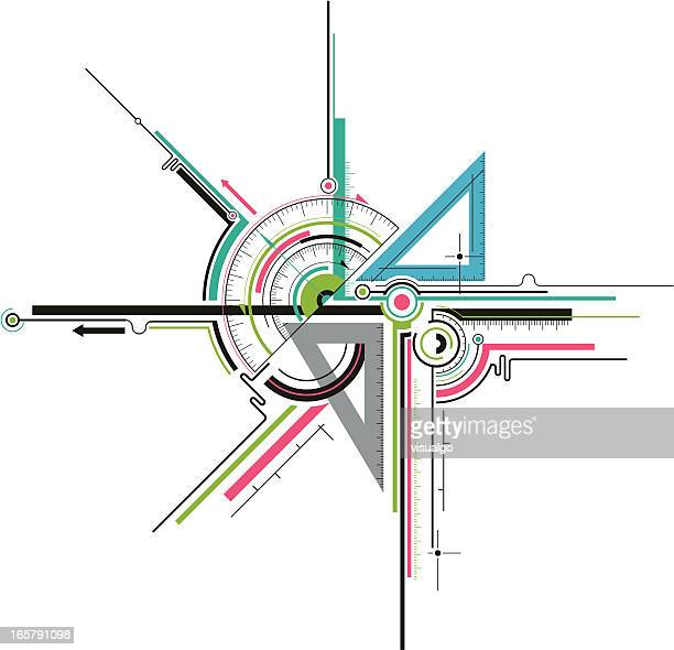 geometry tools - instrument of measurement stock illustrations