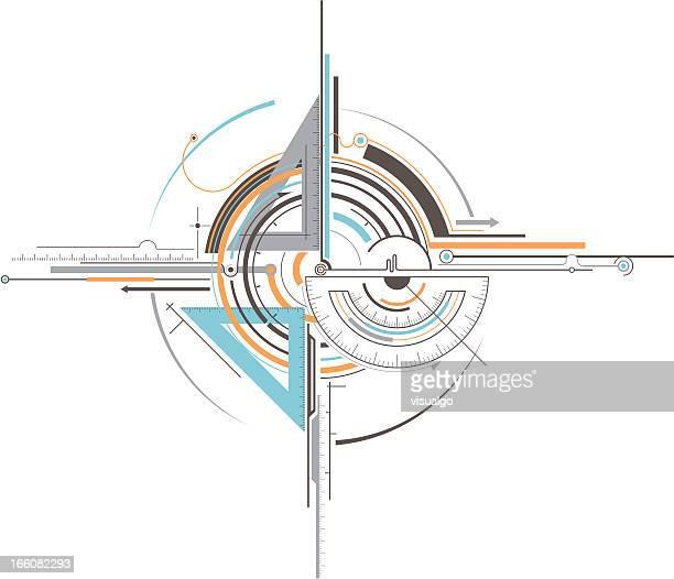ilustraciones, imágenes clip art, dibujos animados e iconos de stock de geometría de herramientas - exactitud