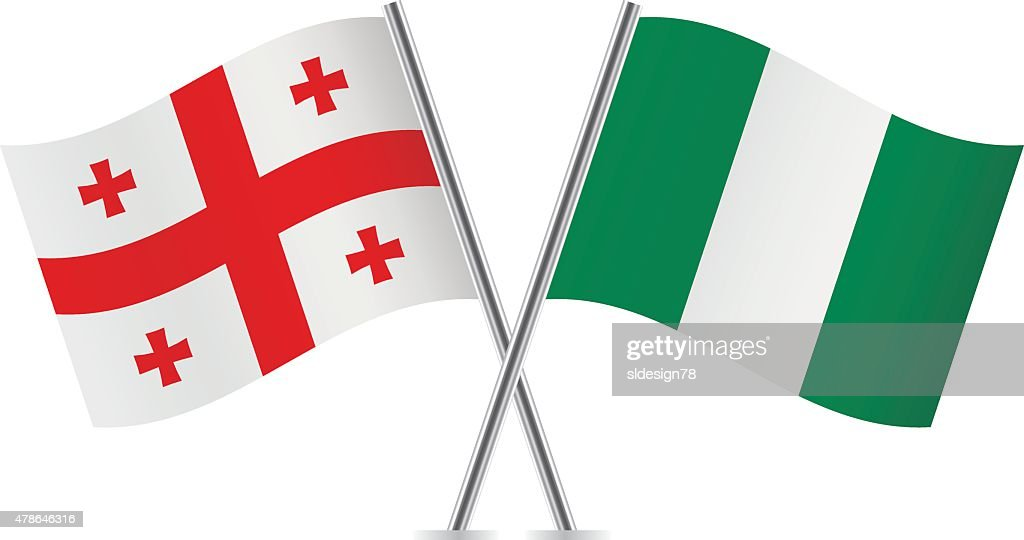 Georgia and Nigeria flags. Vector.