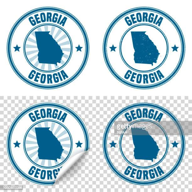 Georgia - Blue sticker and stamp with name and map