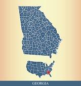 Georgia county map outline vector illustration in creative design