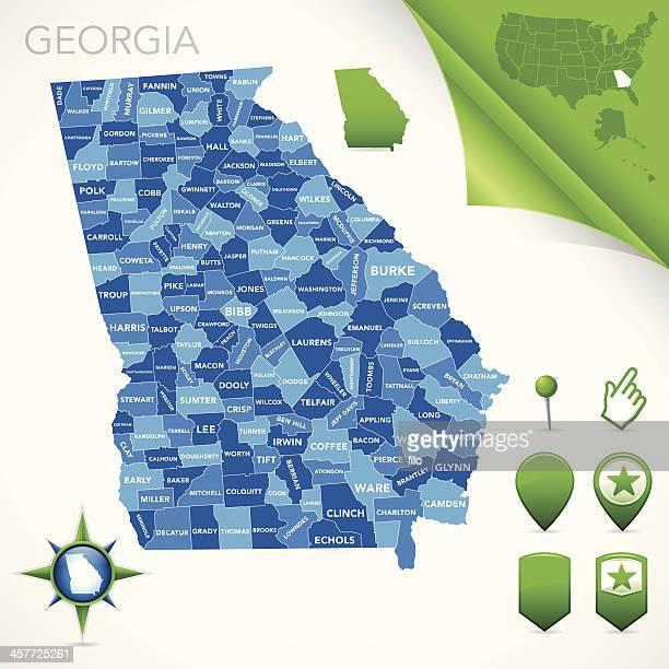 ilustrações, clipart, desenhos animados e ícones de georgia county mapa - geórgia sul dos estados unidos