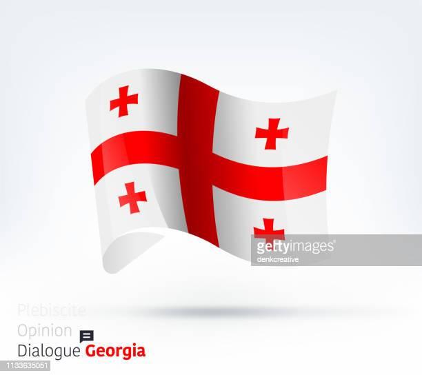 ilustraciones, imágenes clip art, dibujos animados e iconos de stock de bandera de georgia diálogo internacional y gestión de conflictos - georgia estado de eeuu