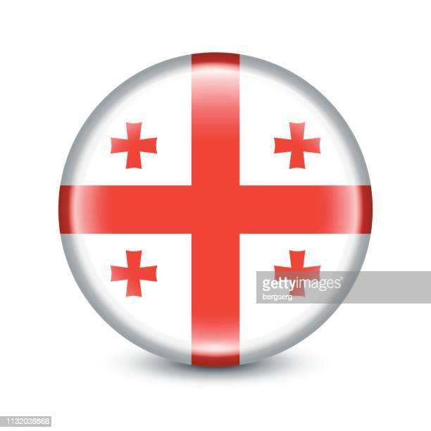 georgia flag round icon. vector illustration - georgia country stock illustrations