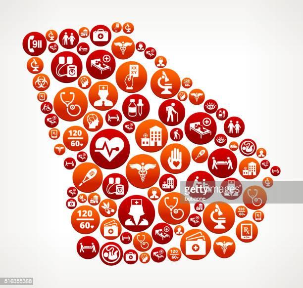 ilustraciones, imágenes clip art, dibujos animados e iconos de stock de georgia asistencia sanitaria y medicina patrón de botón rojo - georgia estado de eeuu