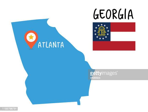 georgia map and flag - atlanta stock illustrations, clip art, cartoons, & icons