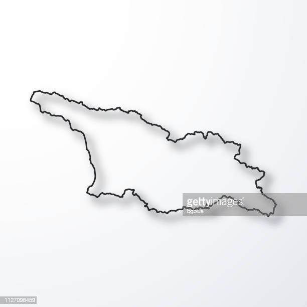 Georgia map - Black outline with shadow on white background