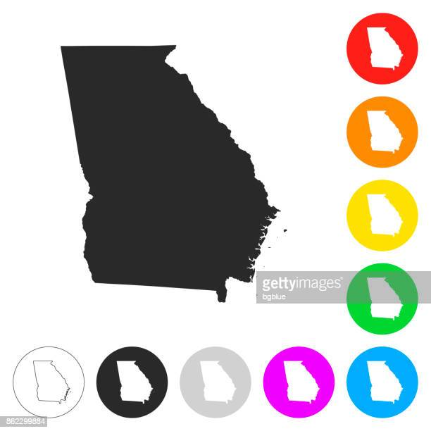 Georgia map - Flat icons on different color buttons