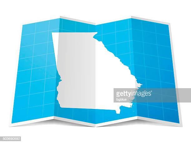 ilustraciones, imágenes clip art, dibujos animados e iconos de stock de mapas plegados georgia, aislado sobre fondo blanco - atlanta georgia