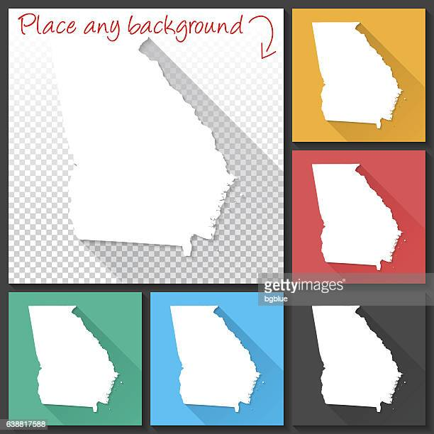 Georgia Map for design, Long Shadow, Flat Design