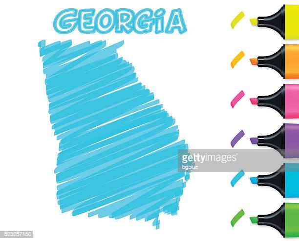 ilustraciones, imágenes clip art, dibujos animados e iconos de stock de georgia mapa dibujado a mano sobre un fondo blanco, azul marcador - atlanta georgia