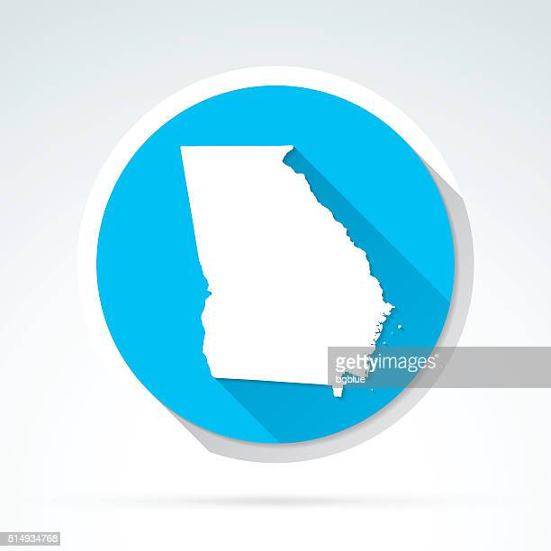 Georgia map icon, Flat Design, Long Shadow