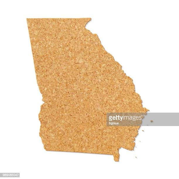 Georgia map in cork board texture on white background