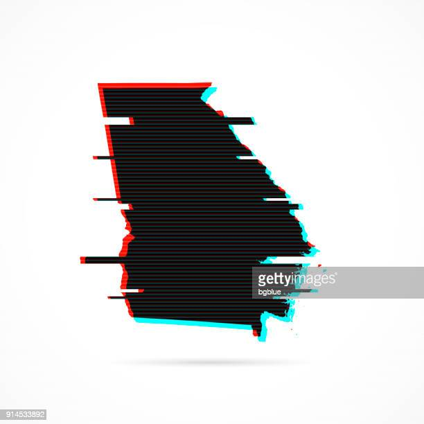 Georgia map in distorted glitch style. Modern trendy effect