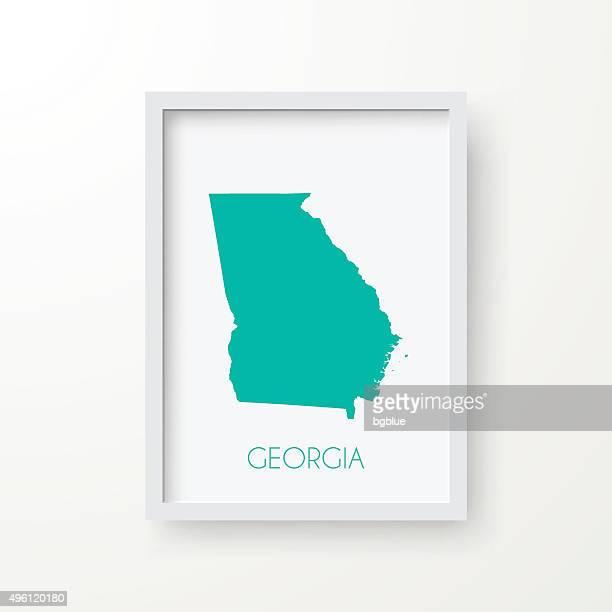 ilustraciones, imágenes clip art, dibujos animados e iconos de stock de mapa de georgia en el marco sobre fondo blanco - atlanta georgia