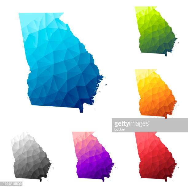 georgia (usa) map in low poly style - colorful polygonal geometric design - georgia us state stock illustrations