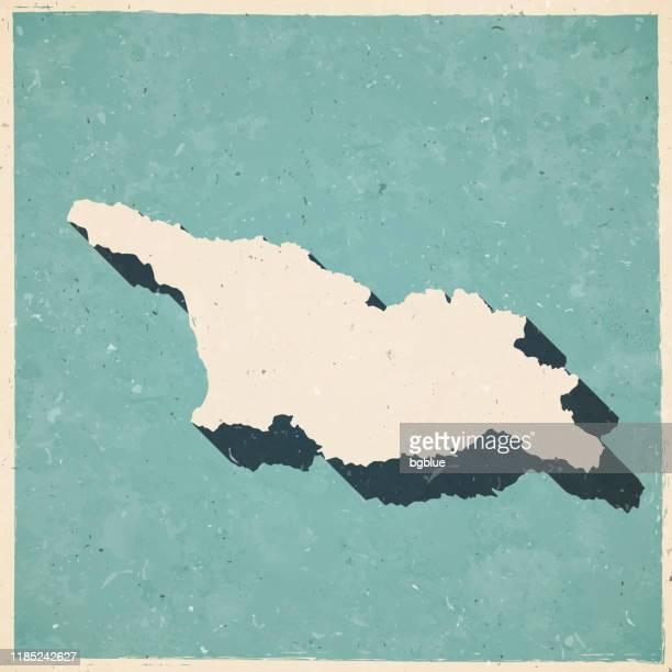 ilustraciones, imágenes clip art, dibujos animados e iconos de stock de mapa de georgia en estilo retro vintage - papel con textura antigua - georgia estado de eeuu