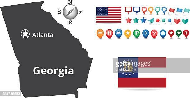 ilustraciones, imágenes clip art, dibujos animados e iconos de stock de mapa de georgia - atlanta georgia