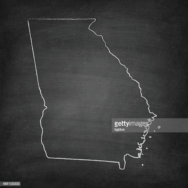 Georgia Map on Blackboard - Chalkboard