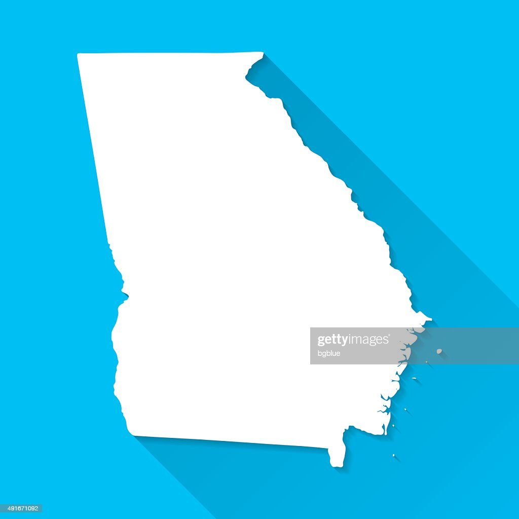 Georgia Map on Blue Background, Long Shadow, Flat Design