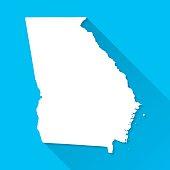 Georgia Map on Blue Background, Long Shadow, Flat Design