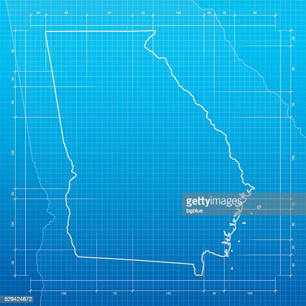 Georgia map on blueprint background