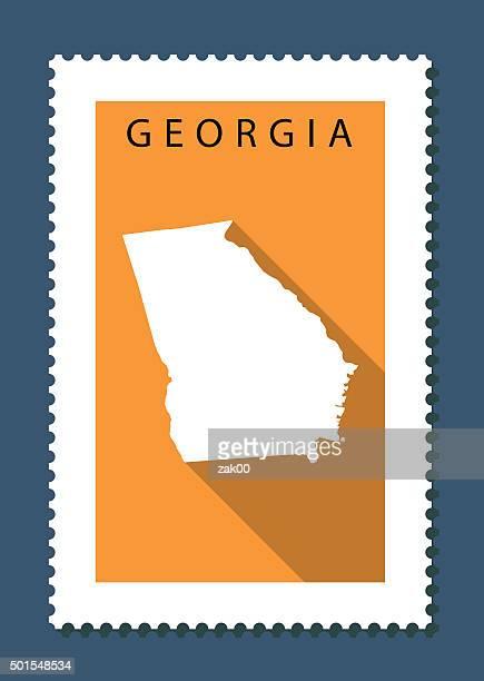 georgia map on orange background, long shadow, flat design,stamp - georgia us state stock illustrations