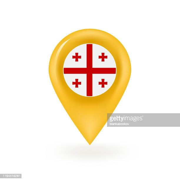 georgia karte pin symbol - flagge von georgien stock-grafiken, -clipart, -cartoons und -symbole