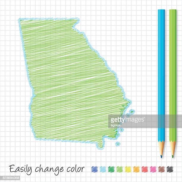 ilustraciones, imágenes clip art, dibujos animados e iconos de stock de georgia bosquejo de un mapa hecho con lápices de colores, en papel cuadriculado - atlanta georgia