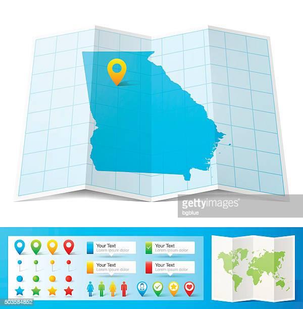 ilustraciones, imágenes clip art, dibujos animados e iconos de stock de georgia, mapa con pasadores de ubicación aislado sobre fondo blanco - atlanta georgia