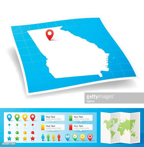 georgia map with location pins isolated on white background - atlanta stock illustrations, clip art, cartoons, & icons