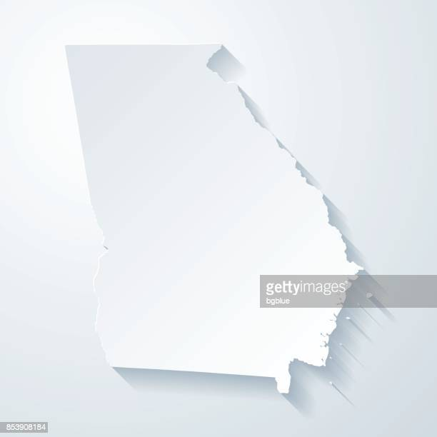 Georgia map with paper cut effect on blank background