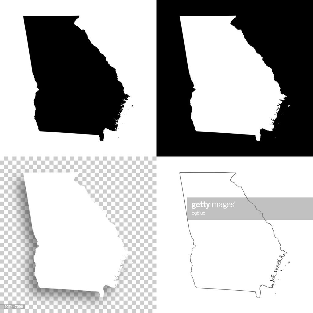 Georgia maps for design - Blank, white and black backgrounds
